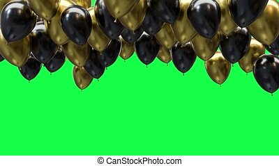 Golden and black balloons on the ceiling on a green screen background