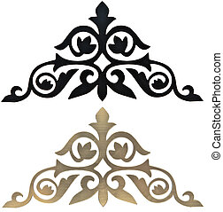golden and black collection of carved decorative elements