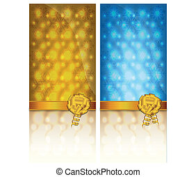 Golden and blue invitation card