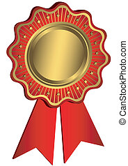 Golden and red award with red ribbons (vector)