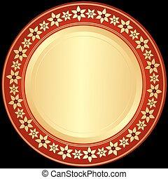 Golden and red-black frame