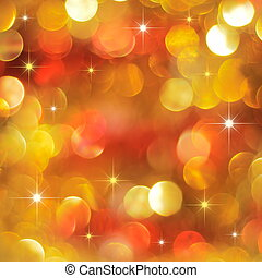 Christmas golden and red lights background with little stars