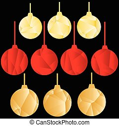 Golden and red polygonal Christmas balls on black background.