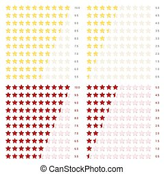 golden and red stars rating on white