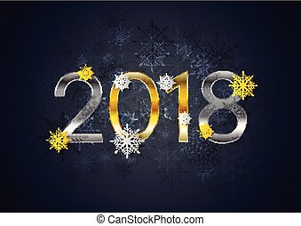 Golden and silver 2018 New Year holiday background