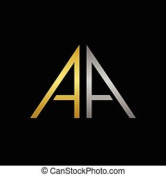 A letters logo - Golden and silver A letters logo template...