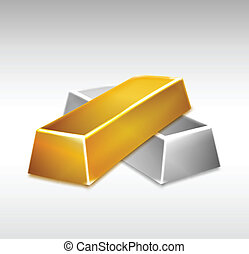 Golden and Silver Bars. Vector illustration