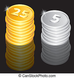 Golden and silver coins - Illustration of the golden and...