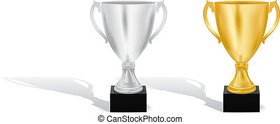 Golden and silver cups vector illustration
