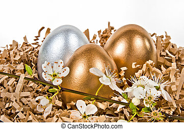 Golden and silver eggs.