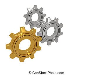 golden and silver gears