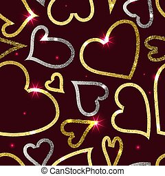 Golden and silver hearts on the dark red background
