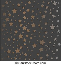 Golden and silver pattern on dark background. Golden and silver stars. Vector Illustration.