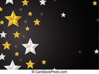 Golden and silver stars abstract background