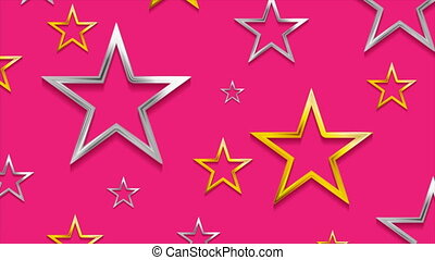 Golden and silver stars on bright pink background video animation