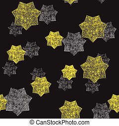 Golden and Silver Stars Seamless Pattern