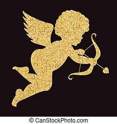 Golden angel silhouette on black background. Cupid
