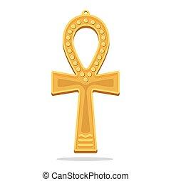 Golden Ankh Egyptian Cross. Life Giving Object