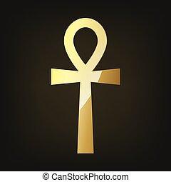 Golden ankh egyptian cross. Vector illustration.