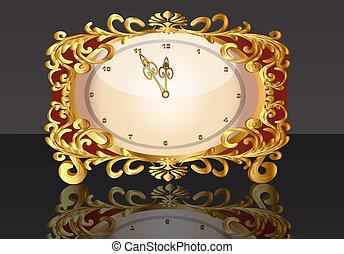 gold(en), antigas, relógio, padrão