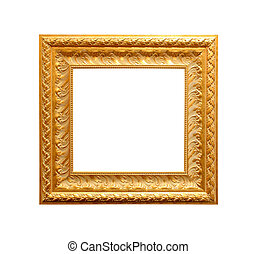 Golden antique frame isolated on white background