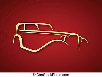 Golden antique logo over red