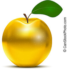 Golden Apple - Vector Golden Apple with green leaf isolated...