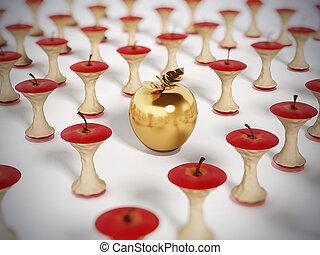 Golden apple standing out among eaten apple cores. 3D illustration