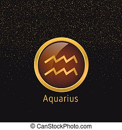 Golden Aquarius sign - Aquarius Zodiac sign. Aquarius...