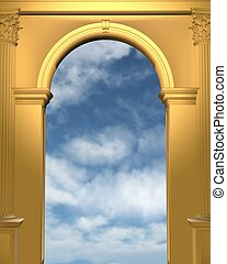 Cloudy blue sky seen through a gold archway with Corinthian columns, 3d digitally rendered illustration