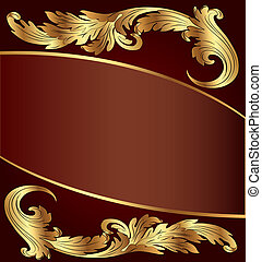 gold(en), arrière-plan brun, modèle