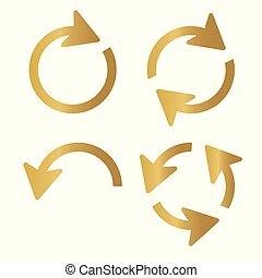 golden arrow icon- vector illustration