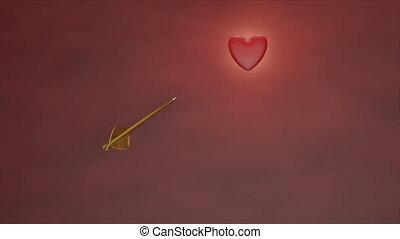 Golden arrow piercing heart - falling in love, wounded heart