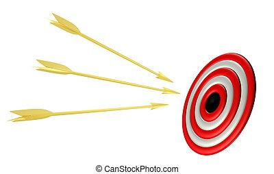 Golden arrows with target