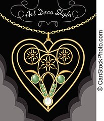 Golden art deco filigree necklace, pendant in heart shape with flowers and green gems on fine golden chain, antique gold jewel, fashion in victorian style, unusual golden jewelry