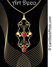 Golden art deco pendant with red gems on filigree chain, victorian jewelry