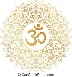 Golden Aum Om Ohm symbol in decorative round mandala...