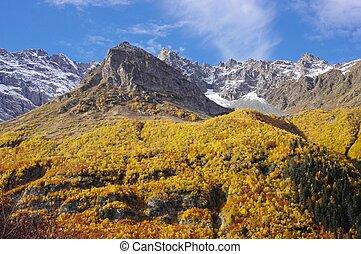 Golden autumn in the mountain of Caucasus