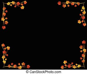 Golden Autumn Maple Leaves Page Frame on Black