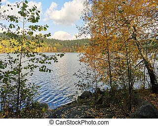 Golden autumn on lake Inyshko Miass Russia