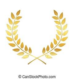Golden Award Laurel Wreath. Winner Leaf label,  Symbol of Victory