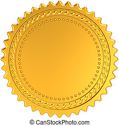 Golden award medal blank seal. Luxury champion badge label....