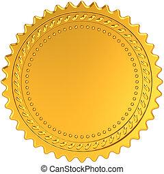 Golden award medal blank seal. Luxury champion badge label....