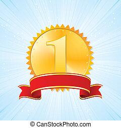 golden award on strip blue background - golden award and red...