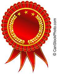 Golden Award Ribbon - Blank award ribbon rosette isolated on...