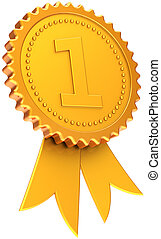 Golden award ribbon first place