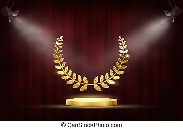 Golden award signs with podium and laurel wreath isolated on red waving curtain background under spotligts. Vector award design template