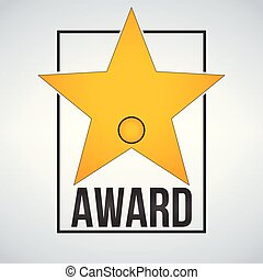 Golden award star template with badge and frame. Vector illustration isolated on modern background.
