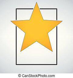 Golden award star template with frame. Vector illustration isolated on modern background.