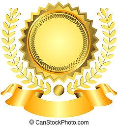 Golden award with ribbon (vector) - Golgen and yellow award...